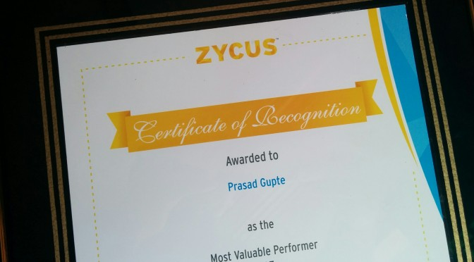 Most Valuable Performer @ Zycat 2015